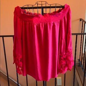 Off the shoulder red shirt
